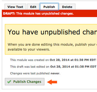 publish changes to module in eportfolio