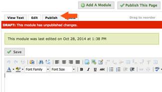 publish tab in module of eportfolio